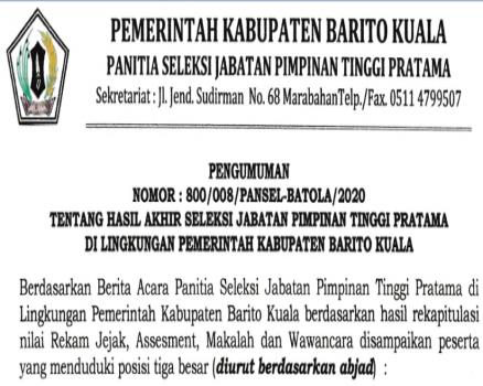 Pengumuman Hasil Akhir Seleksi Terbuka JPT Pratama