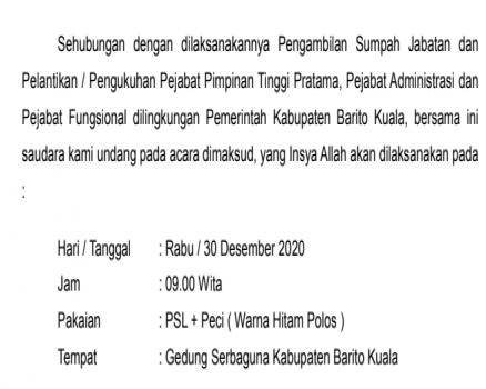 Undangan Pelantikan Pejabat Strukturan dan Pejabat Fungsional 30 Desember 2020